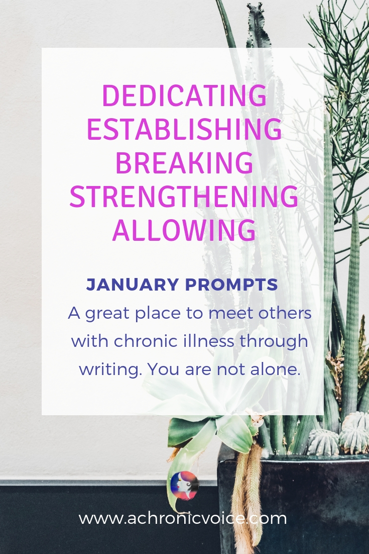 January Prompts: Dedicating 2019 in honour of my youth. Establishing better sleep routines. Allowing myself full access to hope, kindness & love. Click to read more & to participate. Or pin to save & share. ////////// January 2019 / Writing Prompts / Spoonies / Chronic Life / Mental Health / Self Awareness / Life Goals #chronicillness #spoonie #mentalhealth #writingprompts #linkup