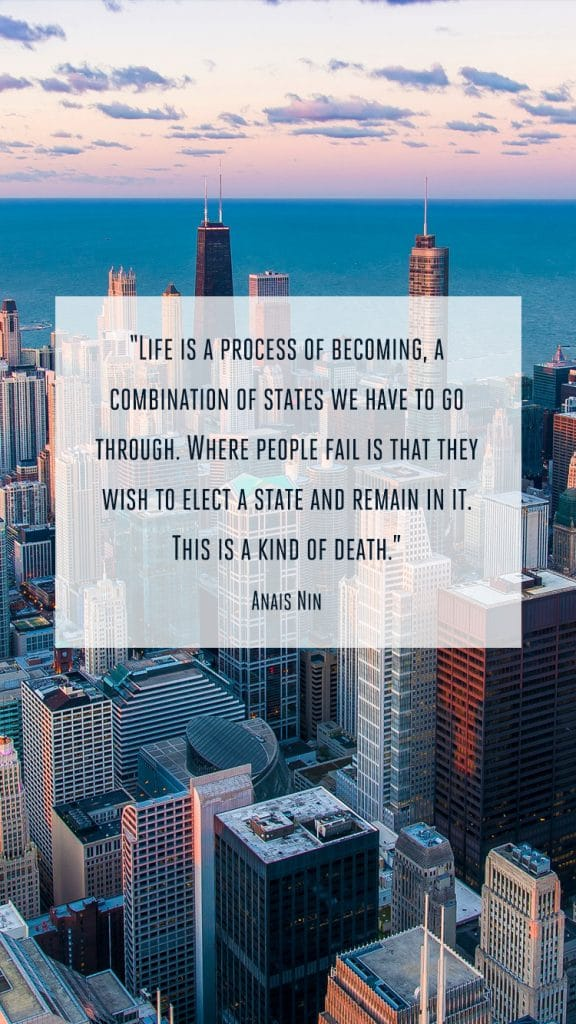 """A Chronic Voice: """"Life is a process of becoming, a combination of states we have to go through. Where people fail is that they wish to elect a state and remain in it. This is a kind of death."""" - Anais Nin"""