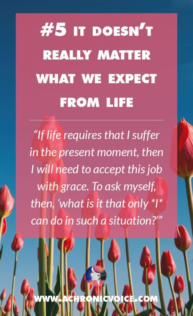 It Doesn't Really Matter What We Expect From Life - If life requires that I suffer in the present moment, then I will need to accept this job with grace. To ask myself, then, 'what is it that only *I* can do in such a situation?' | A Chronic Voice