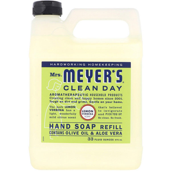 Mrs. Meyers Clean Day, Liquid Hand Soap Refill, Lemon Verbena Scent, 33 fl oz (975ml)