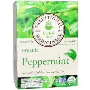 Traditional Medicinals, Herbal Teas, Organic Peppermint, Caffeine Free, 16 Wrapped Tea Bags, .85 oz. (24 g)