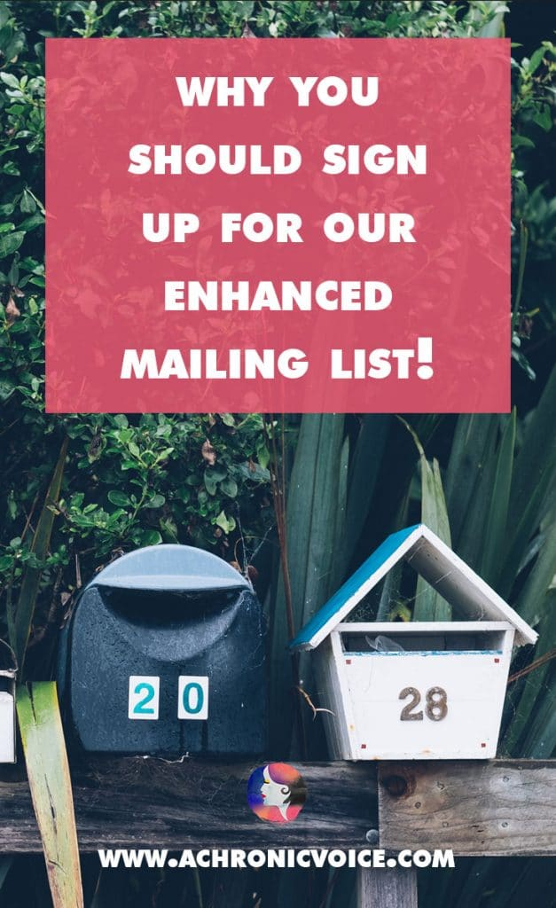 I'm excited to present you with an expansion to our regular mailing list! On top of the latest updates from us, there is a new curation of hot topics... | A Chronic Voice
