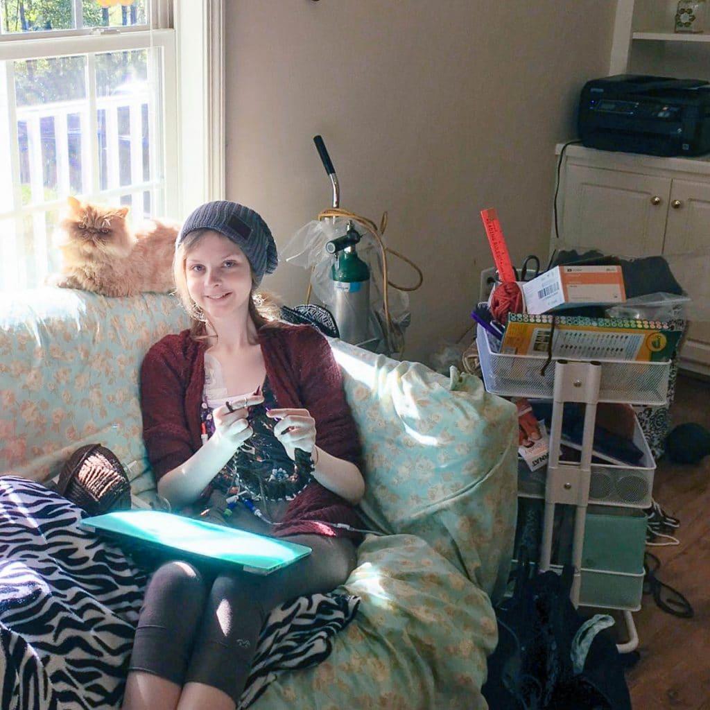 "Cheyanne Perry of ""Hospital Princess"" knitting away! | www.achronicvoice.com"