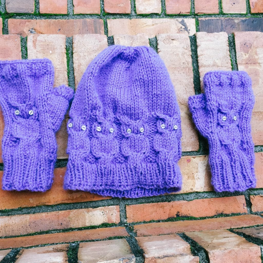 Purple beanie and gloves knitted by Cheyanne Perry of Hospital Princess | www.achronicvoice.com