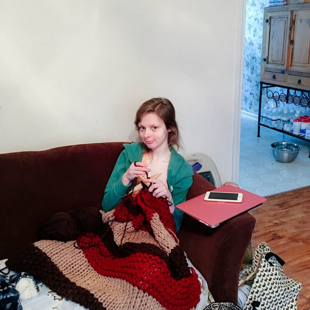 "Cheyanne Perry of ""Hospital Princess"" knitting away! 