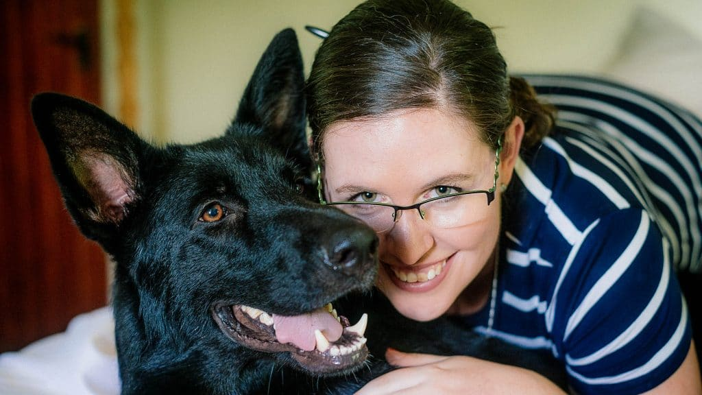 Kelly and her German Shepherd, Teddy