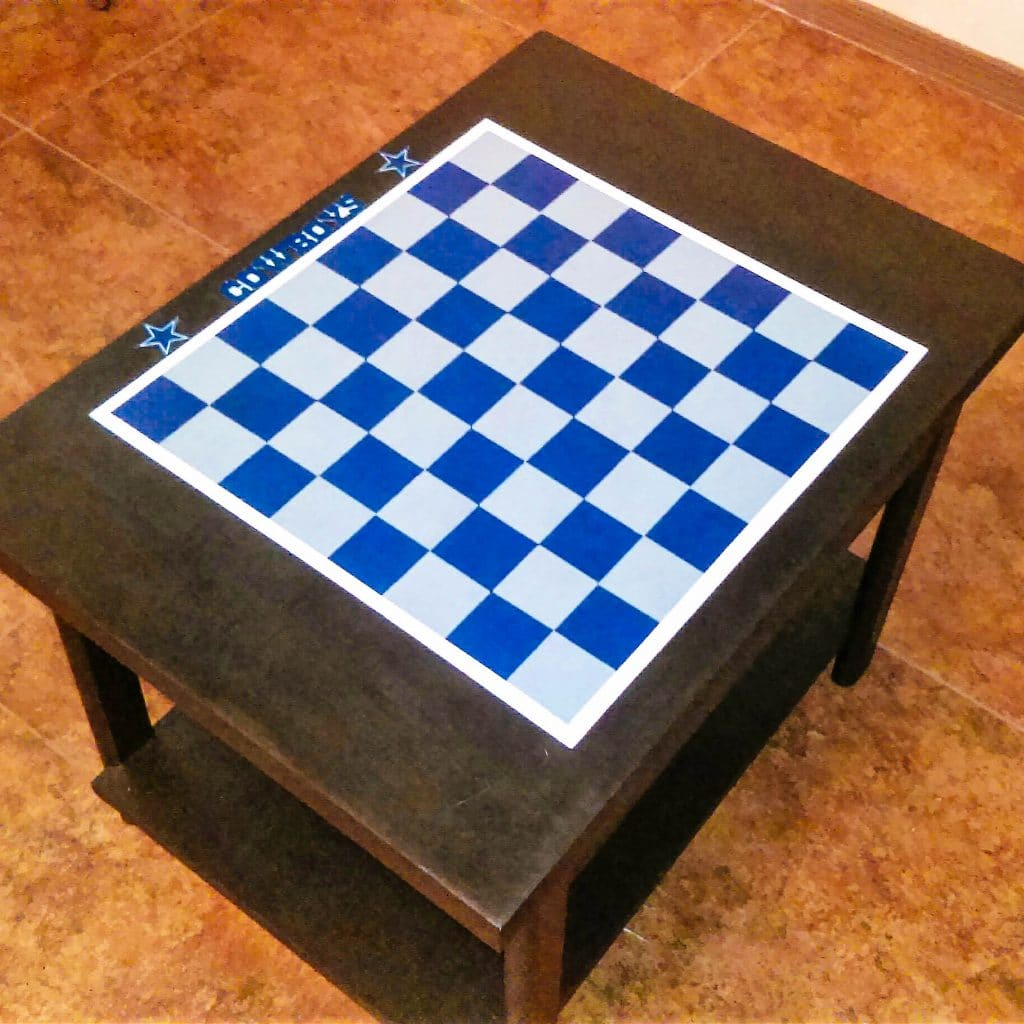 Dallas Cowboys checker table completed.