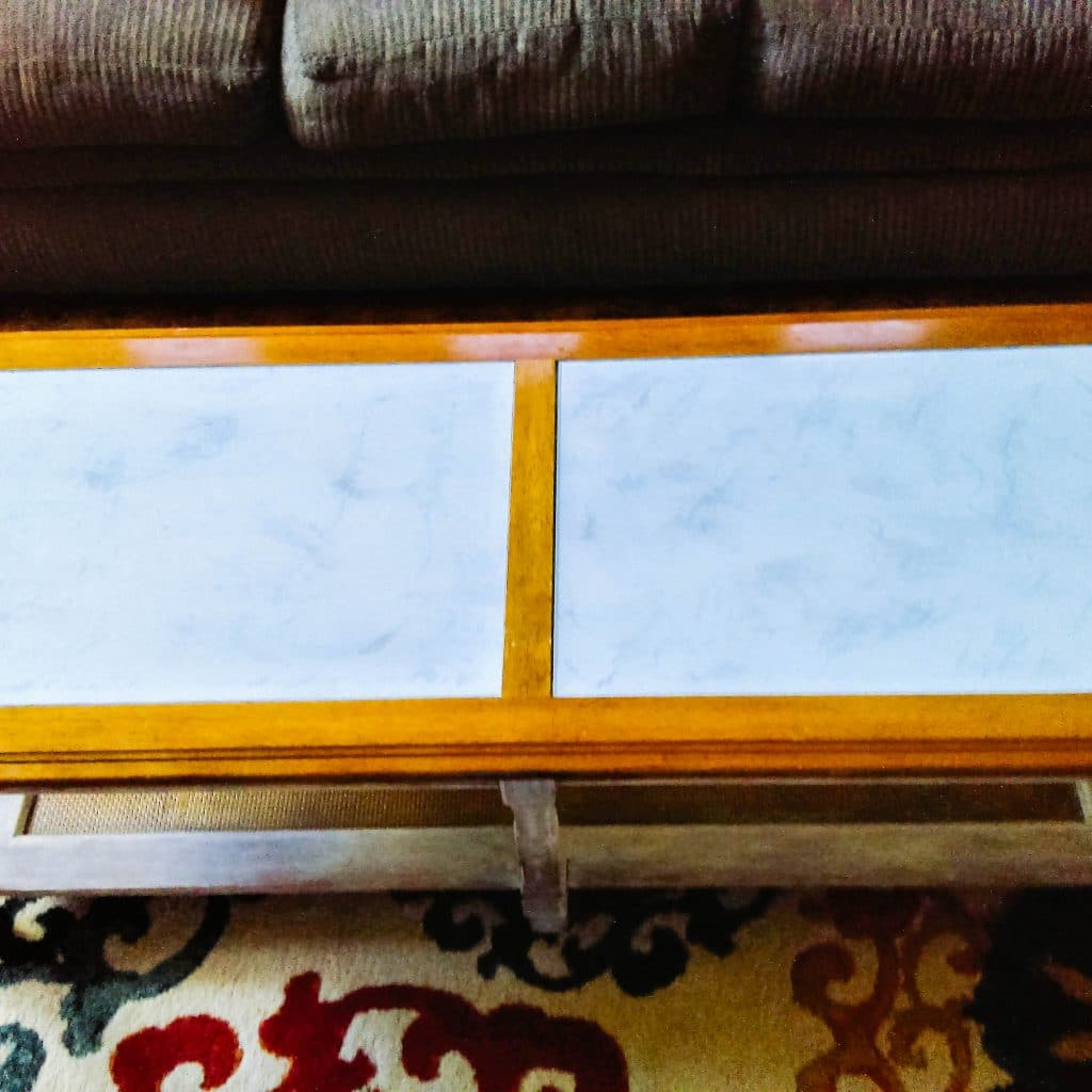 Faux marble table top.