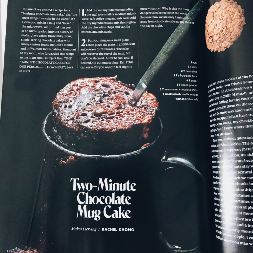 10 minute chocolate mug cake recipe. Lucky Peach's last issue ever magazine review. | www.achronicvoice.com