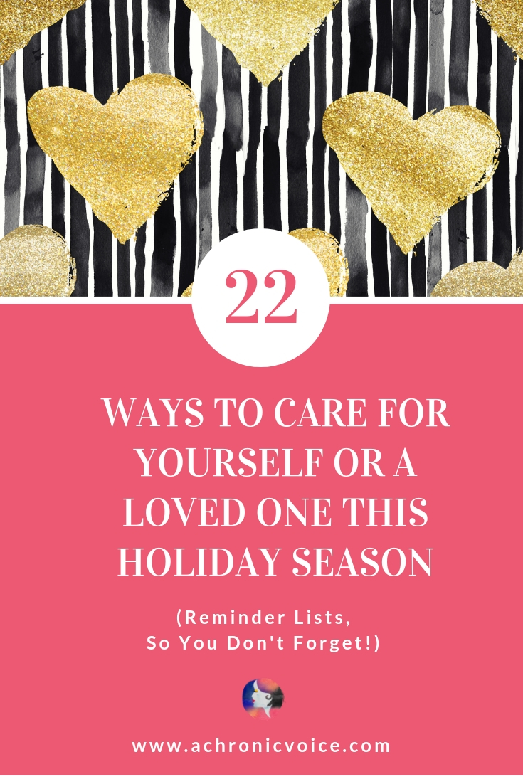 Here are a few holiday checklists for those who live with chronic illness, and also for those who'd like to show their support. Happy holidays to all! Click to get the checklists, or pin to save and share. ////////// Chronic Illness / Spoonies / Self Care & Awareness / Mental Health / Health & Wellness / Christmas / Holiday Season / Support & Awareness / Caregivers / Friends & Family #ChronicIllness #spoonie #Christmas #SelfCare #Checklists
