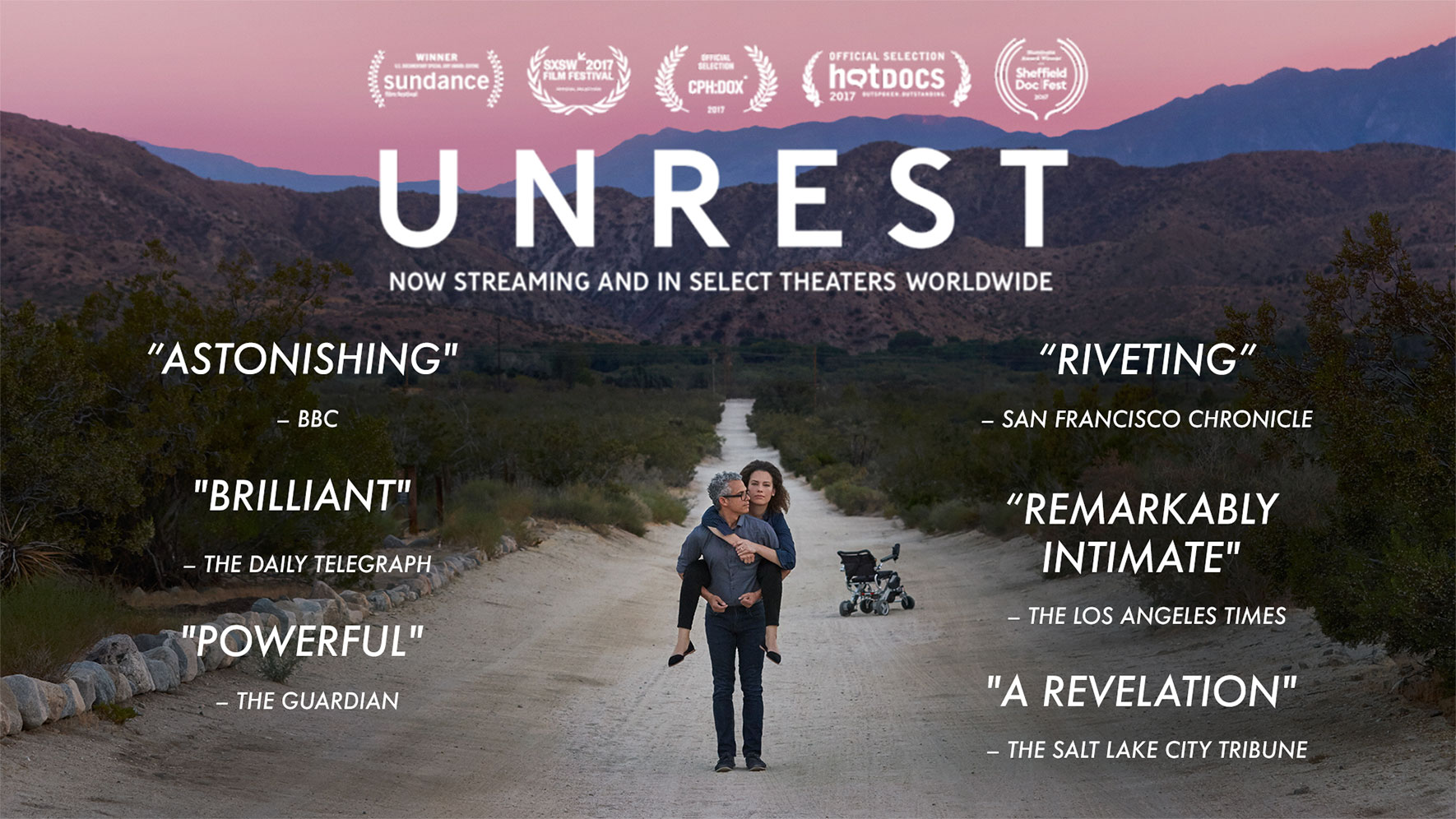 "Poster of award winning film, ""Unrest"" by Jennifer Brea. 