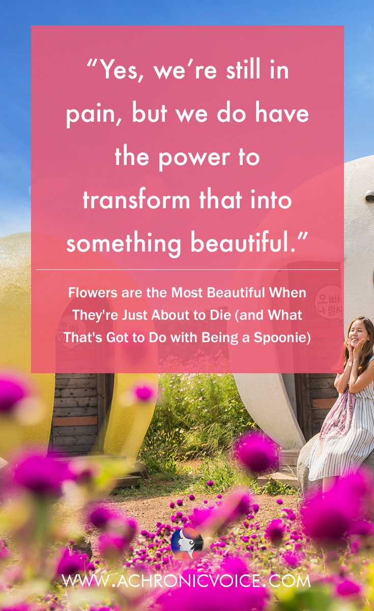 Yes, we're still in pain, but we do have the power to transform that into something beautiful. Click to read or pin to save for later. | www.achronicvoice.com | #spoonies #chronicillness #chronicpain #chroniclife #lifelessons #selfawareness #selfbelief
