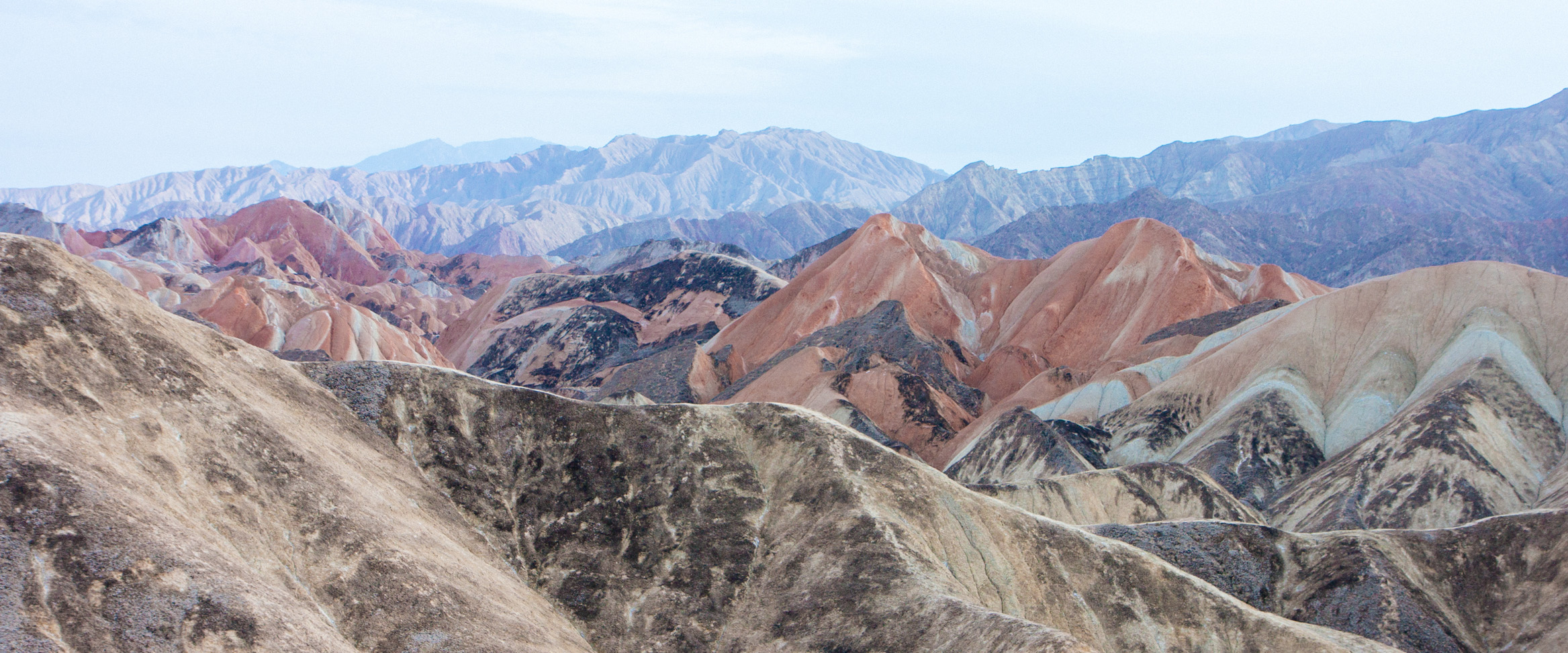 A natural wonder of sandy colours in Zhangye Danxia landform, China.
