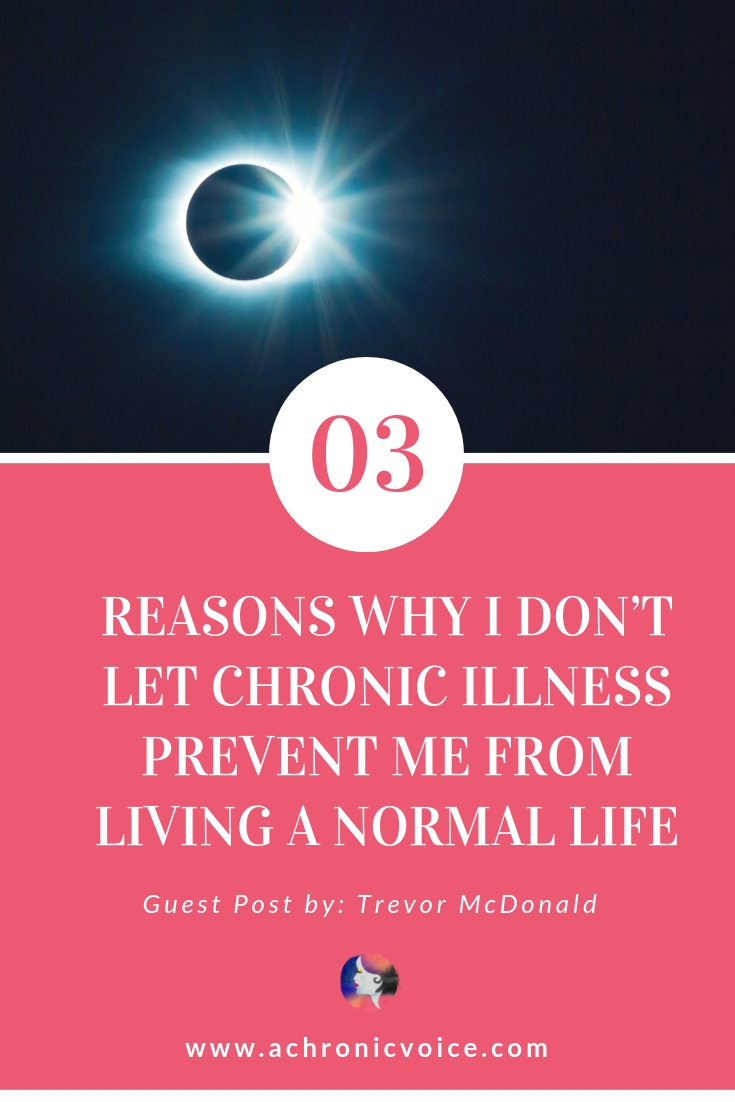 Trevor shares his life experiences with Multiple Sclerosis, and also why and how he continues to strive for a normal life. Click to read, or pin to save and share. ////////// Chronic Illness / Multiple Sclerosis / Mental Health / Spoonies / Life Lessons / Survive & Thrive / Self Care & Awareness #thrive #chroniclife #spoonie #multiplesclerosis