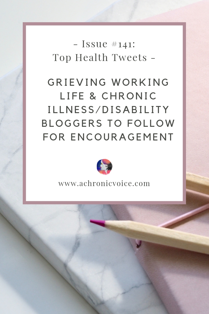 In this issue: Disability & chronic illness bloggers to follow for encouragement & awareness. Some upbeat, positive songs to help deal with chronic pain. Click to read or pin to save and share. ////////// Chronic Illness / Chronic Pain / Health News / Health Resources / Spoonies / Bloggers / Disability / Mental Health / Society & Humanity #ChronicIllness #TopHealthTweets #spoonie #ChronicPain #MentalHealth