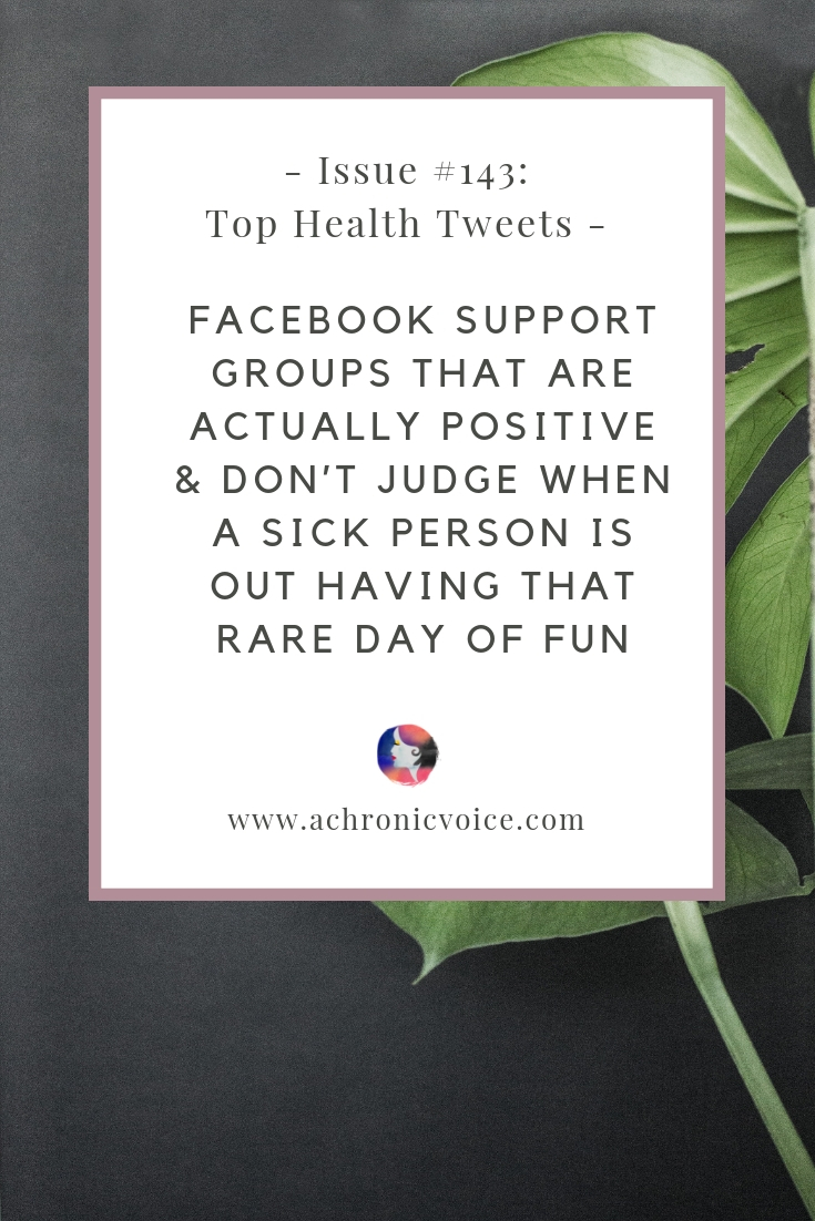 In this issue: Why are people so quick to judge the reality of your pain when you're out having a good time? Support groups on Facebook that are actually positive and useful. Click to read more or pin to save and share. ////////// Chronic Illness / Chronic Pain / Health & Wellness / Spoonies / Mental Health / Self-Care & Awareness / Support Groups / Society & Humanity #ChronicIllness #PainManagement #spoonie #ChronicPain #HealthNews