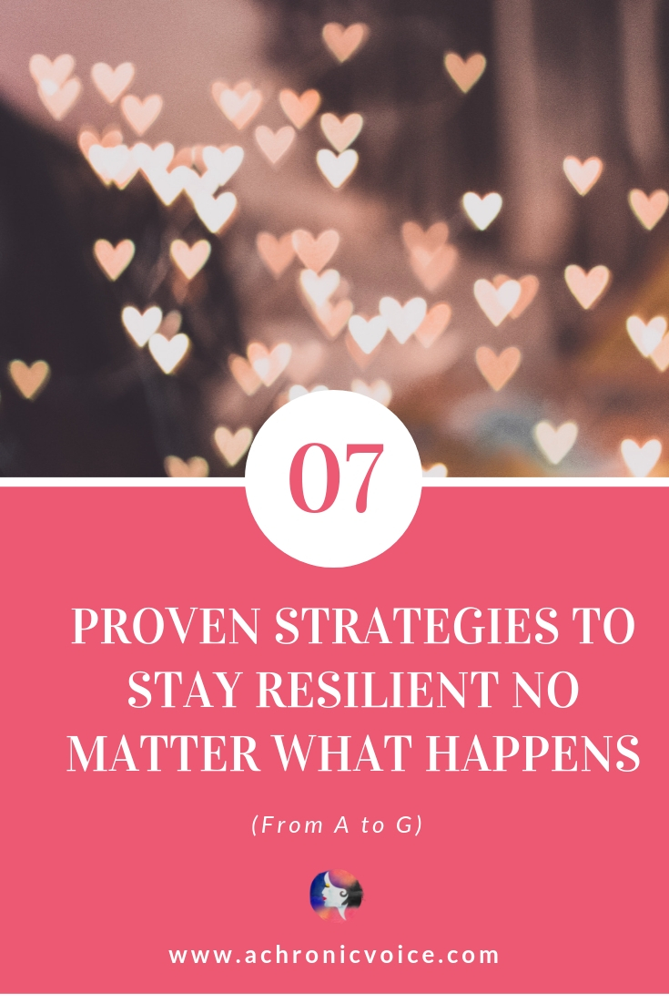 Angela shares her seven favourite techniques from Positive Psychology Interventions. From A to G, these strategies will help you to stay resilient. Click to read or pin to save for later. ////////// Resilience / Resilient / Self-Care & Awareness / Chronic Illness / Pain Management / Health & Wellness / Mindfulness / Positive Psychology / Mental Health #ChronicIllness #MentalHealth #Positivity #Psychology #PainManagement