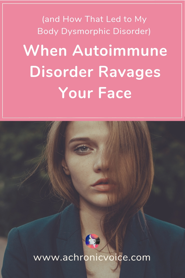 The stress of living with an autoimmune disorder or mental illness is often a vicious cycle. Julia shares how she developed body dysmorphic disorder, when she couldn't recognise herself one day. Click to read, or pin to save and share. ////////// Body Dysmorphic Disorder / Mental Illness / Autoimmune Disease / Chronic Illness / Hives / Chronic Pain / Spoonie Problems #ChronicIllness #MentalIllness #spoonie