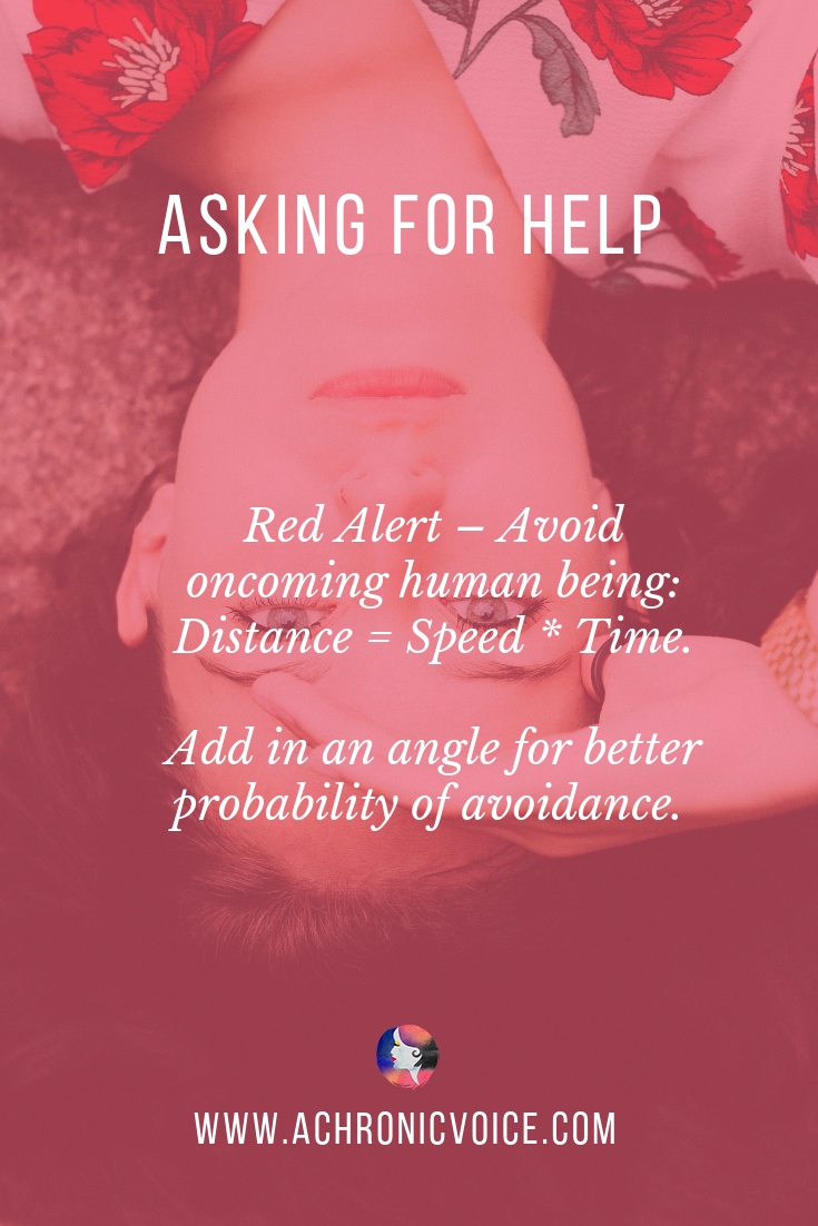 Red Alert - Avoid oncoming human being: Distance = Speed * Time. Add in an angle for better probability of avoidance. - Pin Image