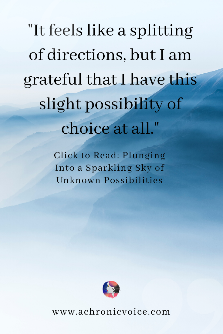 'It feels like a splitting of directions, but I am grateful that I have this slight possibility of choice at all.' Pinterest Quote