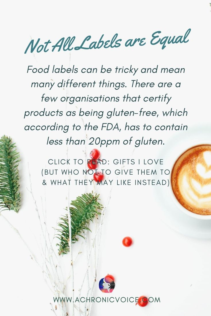 ' Food labels can be tricky and mean many different things. There are a few organisations that certify products as being gluten-free, which according to the FDA, has to contain less than 20ppm of gluten.' - Pinterest Image