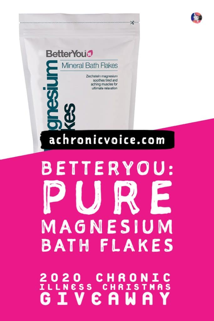 Many people with chronic pain have raved about how hot magnesium salt baths help to soothe those aches. Soak up and relax this winter season and beyond. BetterYou is giving away five packs of their pure magnesium bath flakes this Christmas! #christmasgiveaway #magnesium #betteryou