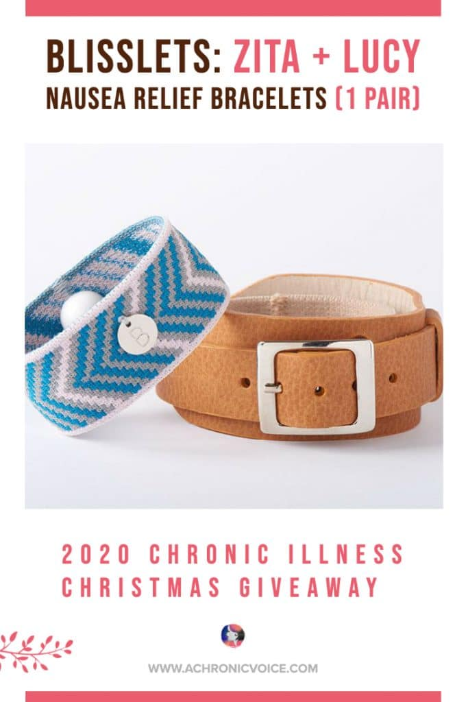 #Blisslets is offering one pair of their 'Zita + Lucy Nausea Relief Bracelets' in this #ChristmasGiveaway. The #bracelets activate the P6 nei guan accupressure point on each wrist to relieve the cause of your #nausea: morning sickness, migraine-induced, motion sickness, etc.
