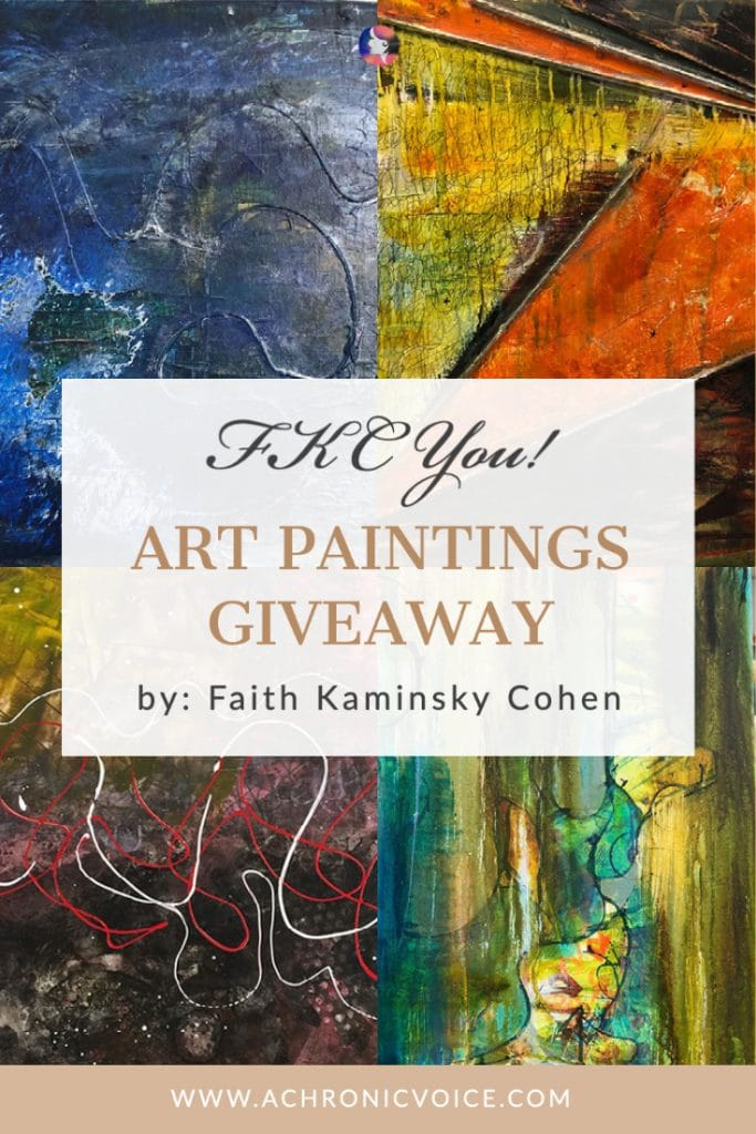 Faith Kaminsky Cohen is an acrylic and plastic artist whose work can be found around the globe. Whilst she is now mobility impaired and her legs are lopsided, she wanted to lend her hands this season. She is giving away two paintings that she has created, each costing up to $300! #ChristmasGiveaway #paintings #AbstractArt
