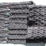 Hand Crocheted Grey Scarf with Beads