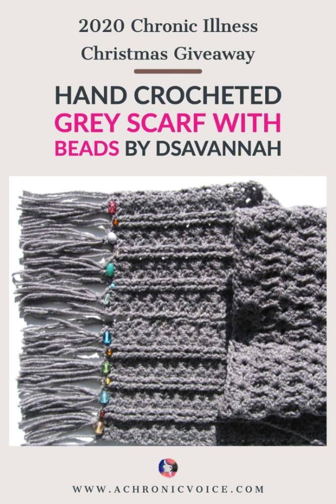dSavannah is an active member in the chronic illness community, and knits pretty things, too! She's giving away 1 hand-crocheted grey scarf with beads in this Christmas Giveaway. It comes in an intricate pattern, and features glass beads on the end to add a little sparkle! #chronicillness #scarf #giveaway