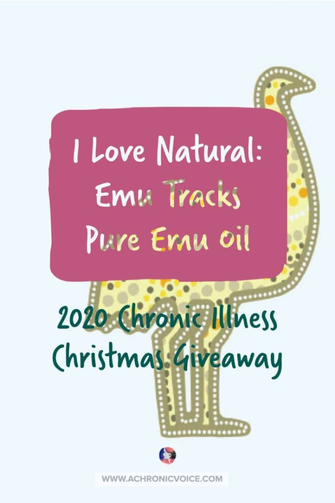 Emu oil is anti-inflammatory, and has great penetrative properties that work well for problems to do with skin ailments, arthritis and joint aches, and digestive disorders. I Love Natural is giving away 3 bottles in the 2020 Chronic Illness Christmas Giveaway! #antiinflammatory #emuoil #chronicillness