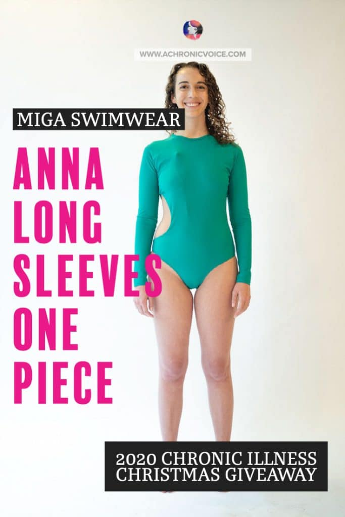 MIGA Swimwear aims to challenge the status quo and definition of what 'beauty' is. She wants to break stigma, and raise awareness on disfigurement, disability and chronic illness. In this Chronic Illness Christmas Giveaway, Maria is offering three Anna Long Sleeves One Piece in emerald green. The swimsuit is named after Anna, an artist who lives with Hidradenitis Suppurativa, also known as Acne Inverse, a chronic skin disease. #chronicillness #womenshealth #swimwear