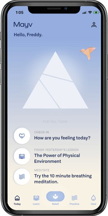 The Mayv Mobile App - Welcome Screen | Learn, Relief, Practice and Heal