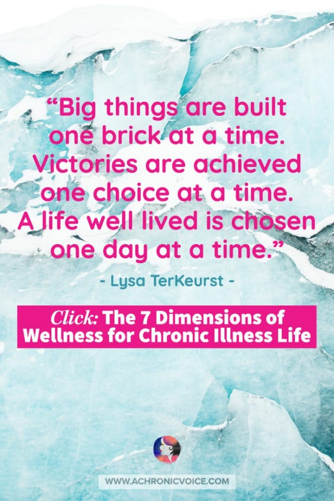 'Big things are built one brick at a time. Victories are achieved one choice at a time. A life well lived is chosen one day at a time.' – Lysa TerKeurst Quote
