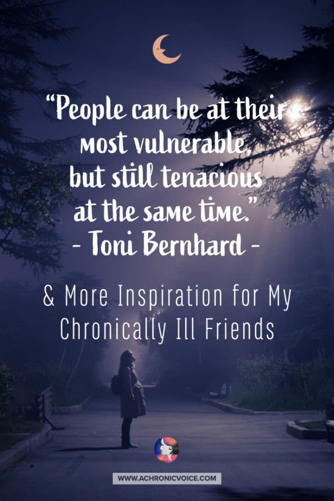 'People can be at their most vulnerable, but still tenacious at the same time.' — Toni Bernhard Quote