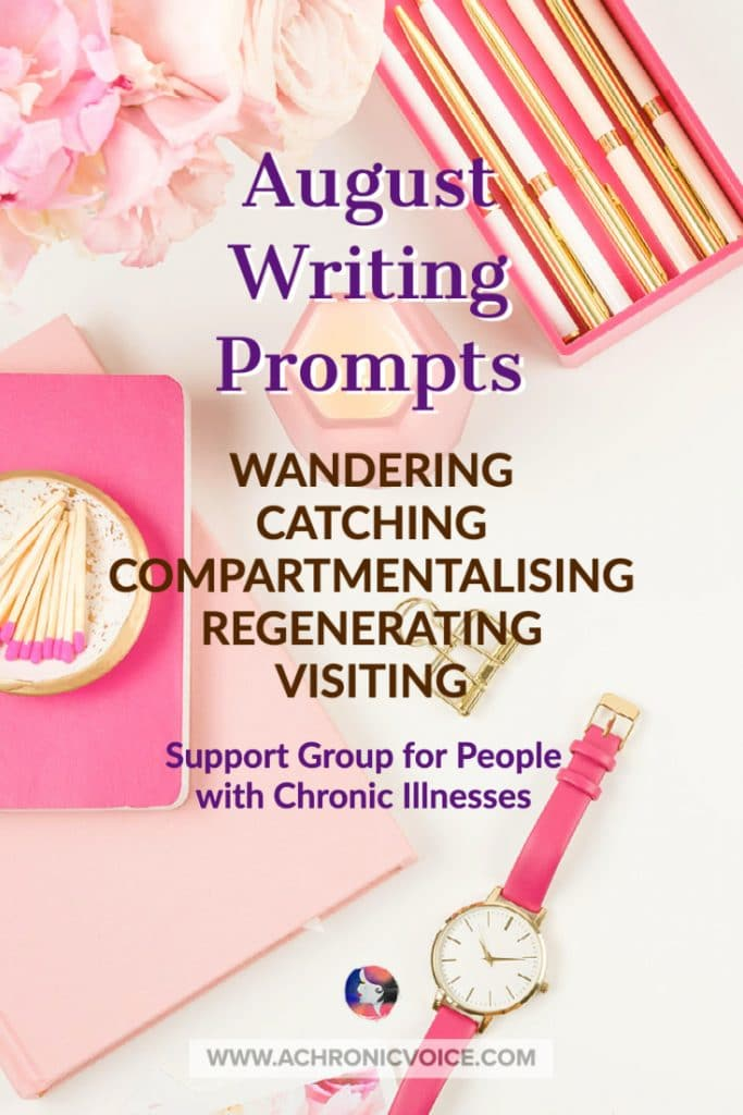 August Writing Prompts - Wandering, Catching, Compartmentalising, Regenerating and Visiting.